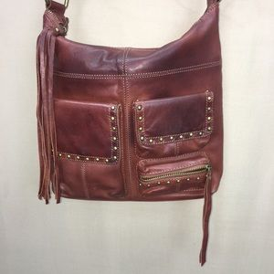 Lucky Brand Brown Leather Studded Shoulder Bag